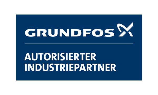 Logo von Grundfos, dem Industriepartner von Buripump